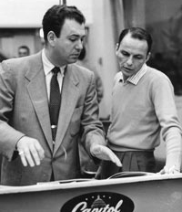 Arranger Nelson Riddle and Frank Sinatra during their Capitol Records collaboration