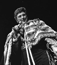 Liberace performing in Las Vegas in one of his trademark over-the-top costumes, circa 1970s.