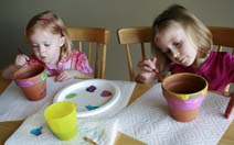Girls painting pots