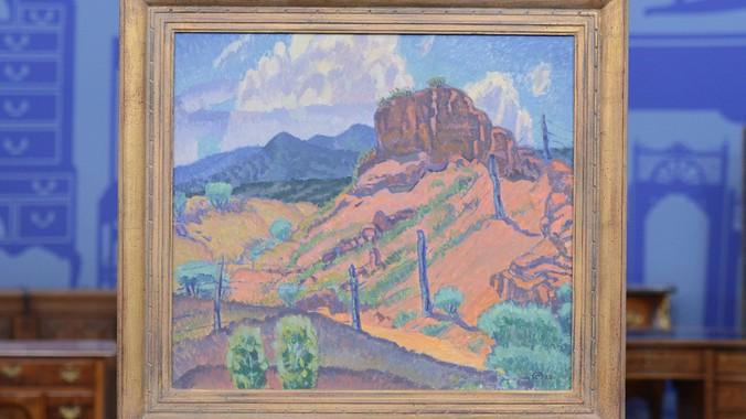 "Canvas Santa Fe >> 1922 Raymond Jonson ""Santa Fe"" Oil | Antiques Roadshow | PBS"