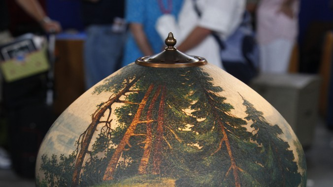 Handel Lamp With Reverse Painted Shade Ca 1900