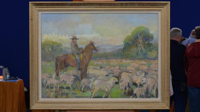 1959 Minerva Teichert Quot Cowboy With Sheep Quot Oil Quot Antiques