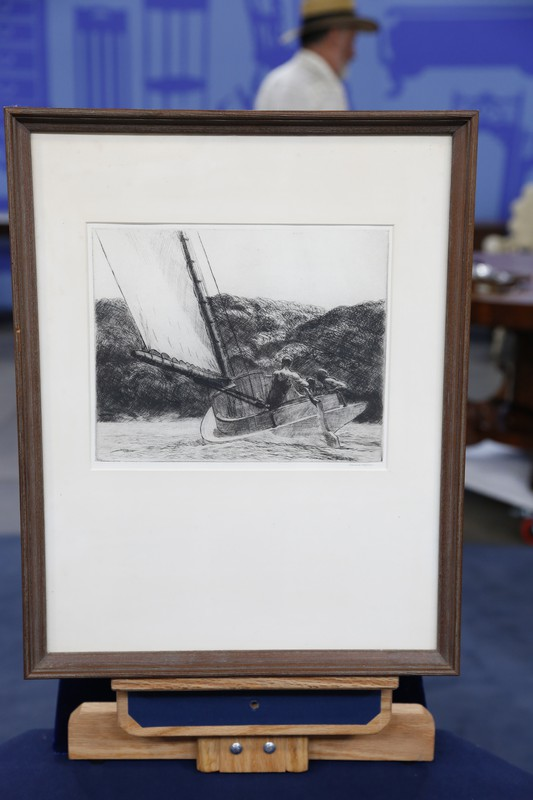 "Lincoln Ca Zip >> 1922 Edward Hopper Etching, ""The Cat Boat"" 
