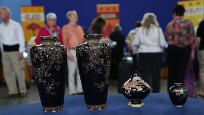 Japanese Meiji Cloisonne Vases Ca 1890