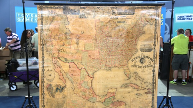 Us Map In 1861.1861 Washington Map Of United States Wall Map Antiques Roadshow