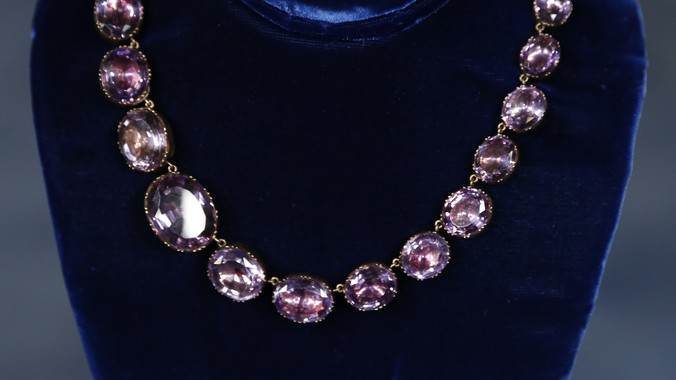 Amethyst Collet Necklace Amp Gold Diamond Ring Antiques
