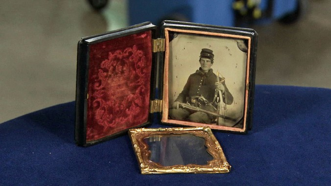 Tintype of Civil War Soldier with Hall Carbine, ca  1862