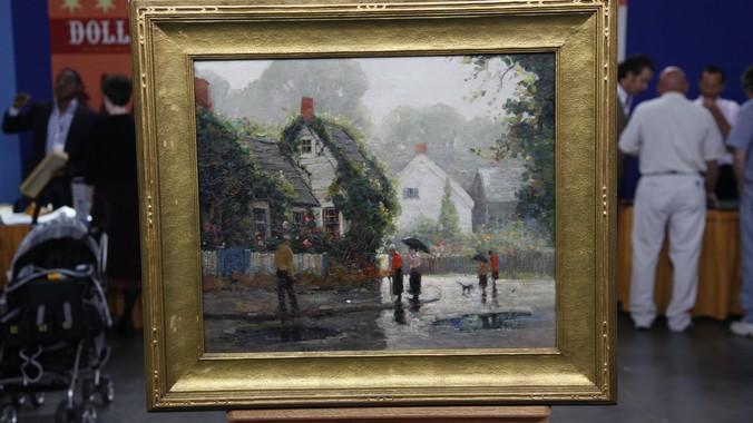 "Anthony Thieme Oil on canvas ""Rainy Day,"" ca. 1935 ..."