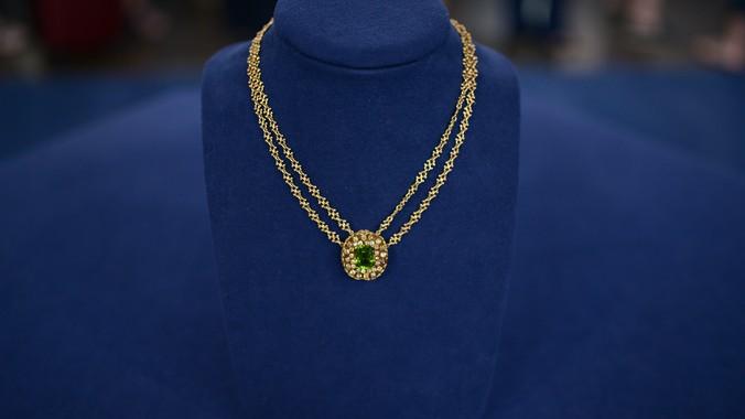 Tiffany & Co  Peridot & Diamond Necklace, ca  1910 | Antiques