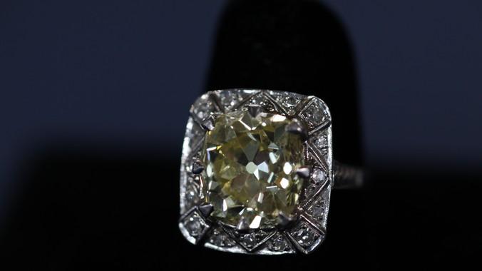 6 5 Ct Yellow Mine Cut Diamond Ring Ca 1900 Antiques