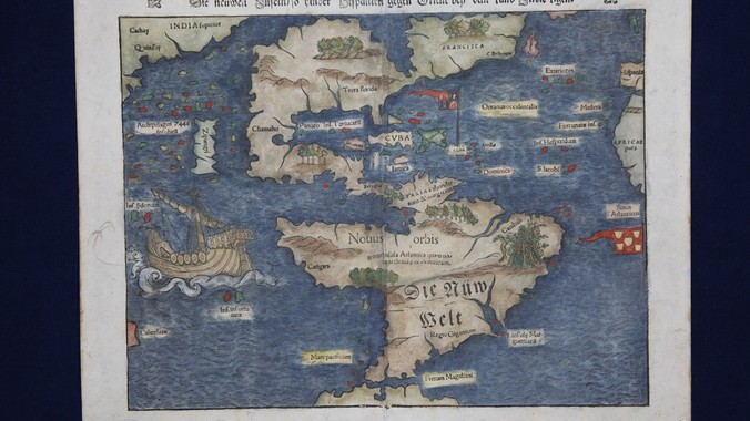 Sebastian Mnster Map of North South America ca 1560 Antiques