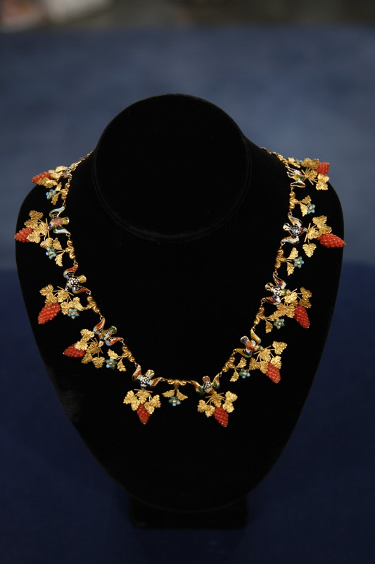 Victorian Enamel Coral Turquoise Amp Pearl Necklace Ca