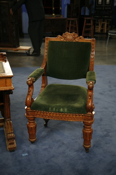 Congressional desk and chair ca 1857 antiques roadshow for Furniture upholstery spokane