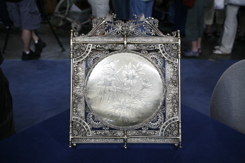 Rogers Smith Company Silver Plate Vanity Mirror Ca 1875