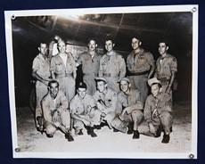 A photo of Enola Gay's 12-man crew. Sergeant Stiborik (front row, far left)  was the plane's radar operator.