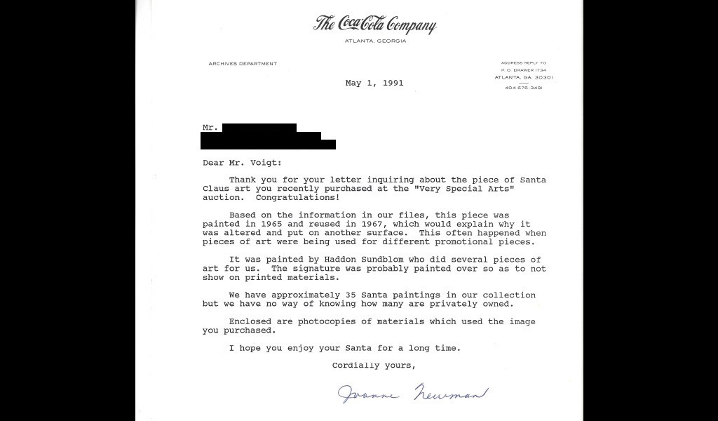 Coca colas sundblom santa antiques roadshow pbs this letter is a response from coca cola after the painting owner inquired about its provenance and idiosyncrasies spiritdancerdesigns Image collections
