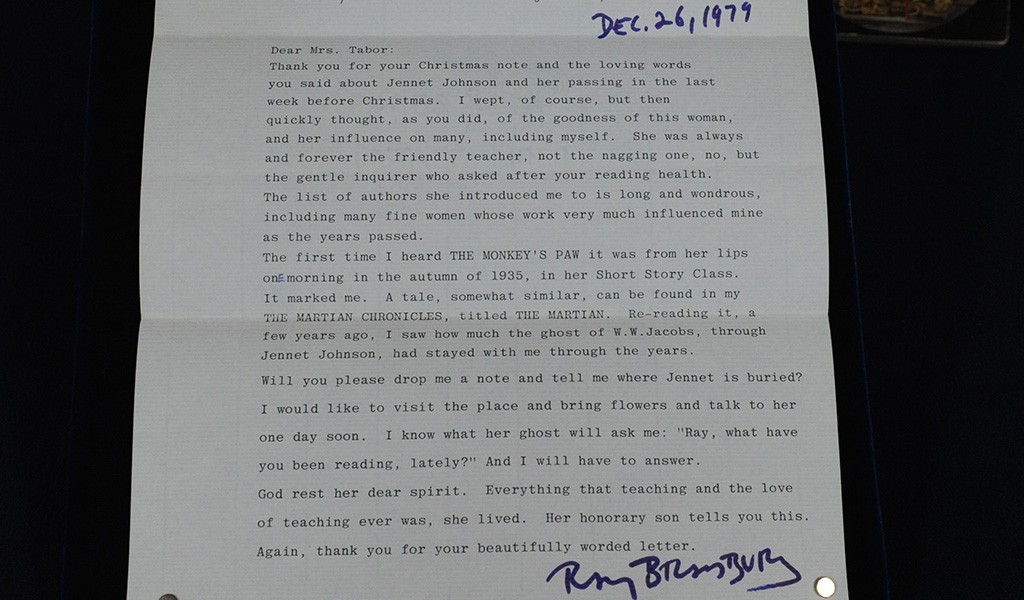 Read the letter ray bradbury honors a beloved english teacher letter from ray bradbury to spiritdancerdesigns Image collections