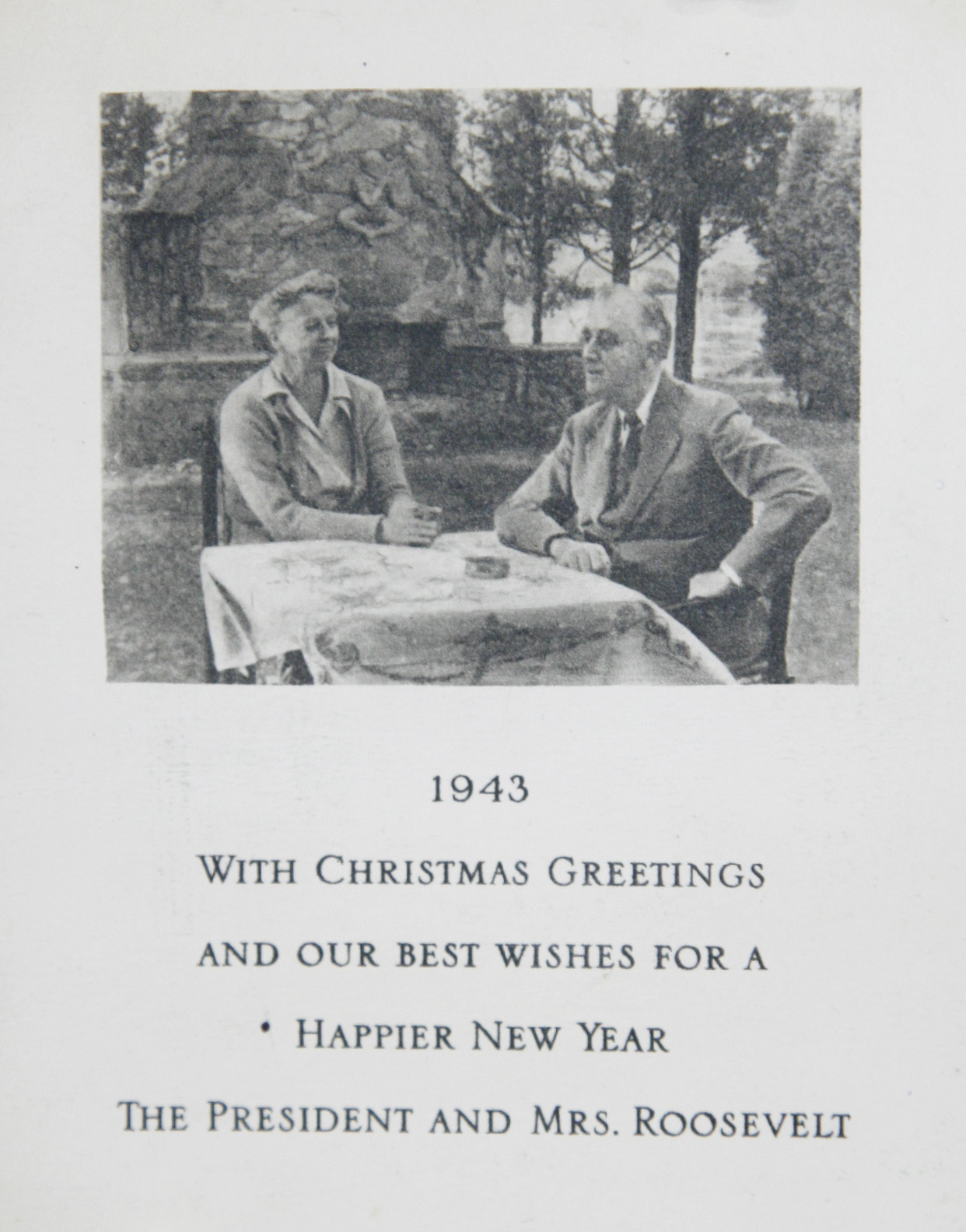 Eleanor roosevelt archive antiques roadshow pbs roosevelts christmas card 1944 in 1944 the roosevelts christmas card showed a drawing of the north front of the white house rather than a picture of kristyandbryce Image collections