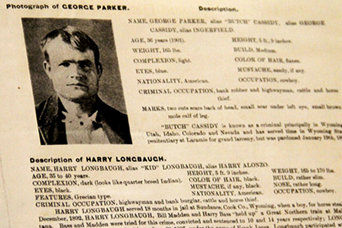 Wanted Posters Butch Cassidy the Sundance Kid – Wanted Criminal Poster