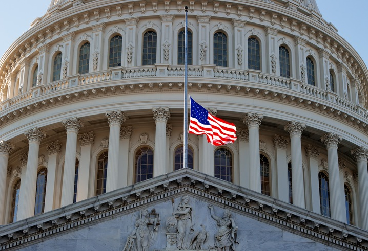 The American flag flies at half-staff