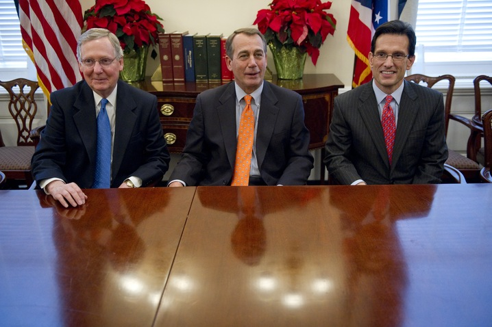 Senate Minority Leader Mitch McConnell, House Speaker John Boehner and House Majority Leader Eric Cantor