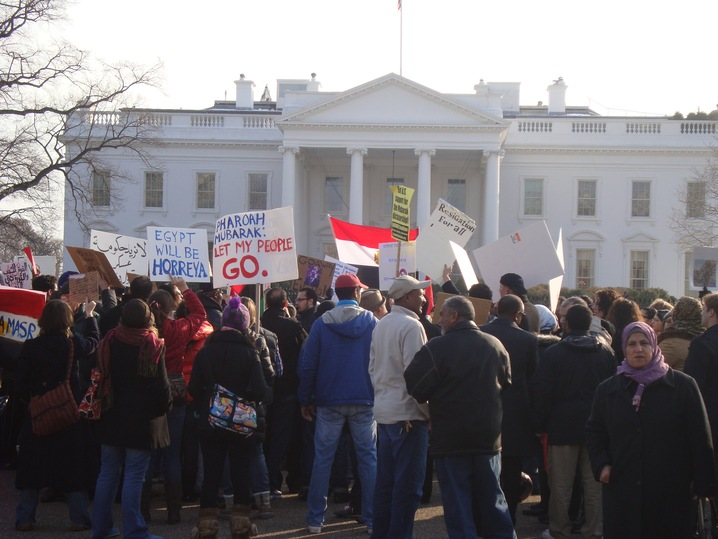 Egypt protest outside White House; NewsHour photo by Mila Sanina