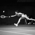 Great photo of Billie Jean King returning shot in 1979 match