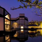 Suzhou Museum, Night View of Garden, I.M. Pei Architect with Pei Partnership Architects