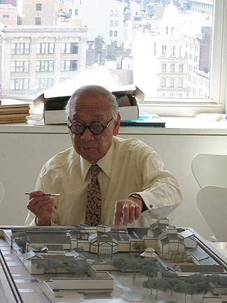 I.M. Pei working with model of Suzhou Museum. Photo courtesy Pei Partnership Architects.