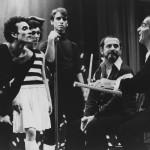 "Legendary choreographer Leonide Massine rehearses ""Parade"" with the Joffrey Ballet's Gary Chryst, Donna Cowen, Philip Jerry, and Robert Joffrey in 1973. Photo Credit: Herbert Migdoll"