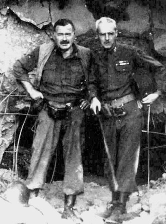 Ernest Hemingway (left) with Col. Charles Lanham in Hürtgen Forest, Germany, 1944. Salinger's 4th Division was fighting there.