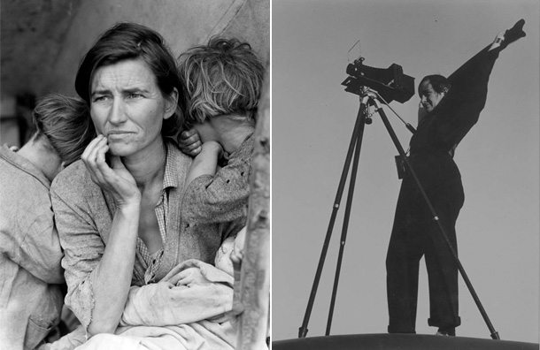 At left: Lange's 1936 portrait, Migrant Mother, of Florence Owens Thompson. At right, Dorothea Lange in 1936, photographed by Rondal Partridge.