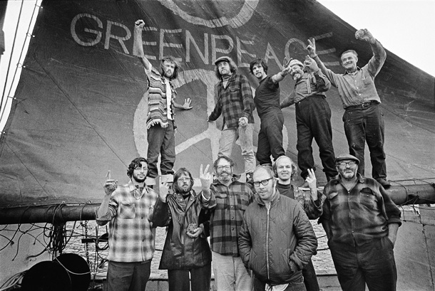 The crew of the Phyllis Cormack, also called Greenpeace, formed the original group that became Greenpeace. This is a photo taken on the first Greenpeace voyage, which departed Vancouver, Canada on September 15, 1971. The aim of the trip was to halt nuclear tests in Amchitka Island (Alaska) by sailing into the restricted area. Photo Credit: Greenpeace / Robert Keziere
