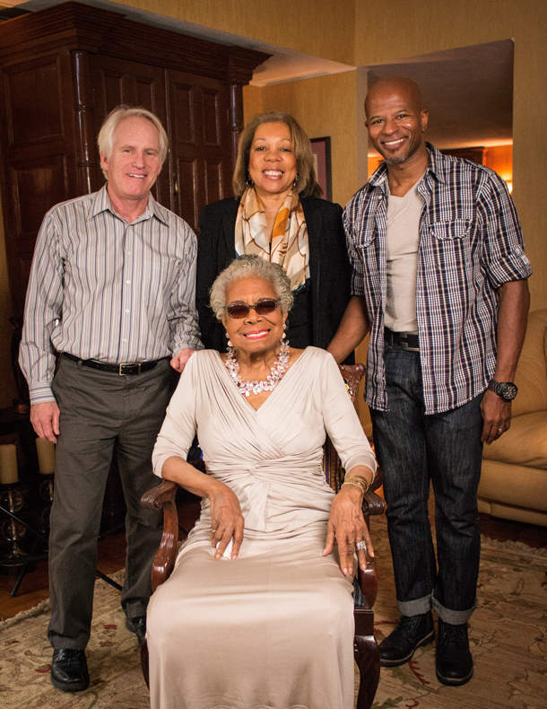 Maya Angelou (seated, center) and the American Masters — Maya Angelou: The People's Poet crew at her house in Winston-Salem, N.C., January 2014. Pictured (standing, left to right): Bob Hercules (co-director/producer), Rita Coburn Whack (co-director/producer) and Keith Walker (D.P.) Photo by Christopher Howard.