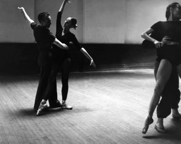 George Balanchine rehearsing with Tanaquil Le Clercq. Maria Tallchief at far right. Photo courtesy of Augusta Films.