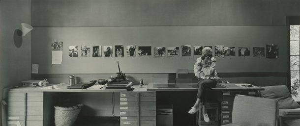 Dorothea Lange preparing for her one-woman career retrospective at New York's Museum of Modern Art (MoMA) in her home studio, Berkeley, CA, 1964. Photo: ©1964, 2014 Rondal Partridge Archives