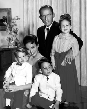 Bing Crosby with his second wife Kathryn and their children Mary, Harry and Nathaniel.