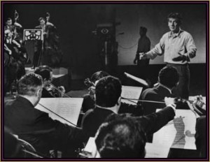 Leonard Bernstein conducting the New York Philharmonic at CBS Studios.