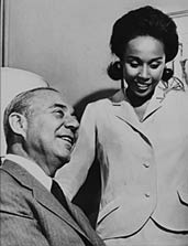 "Richard Rodgers with Diahann Carroll, the star of his musical ""No Strings,"""