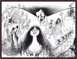 "Hirschfeld's drawing of ""The Phantom of the Opera."""