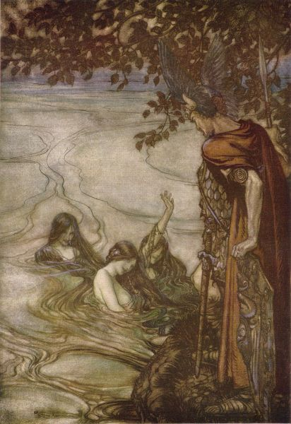The Rhinemaidens warn Siegfried by Arthur Rackham (1912). Public Domain.
