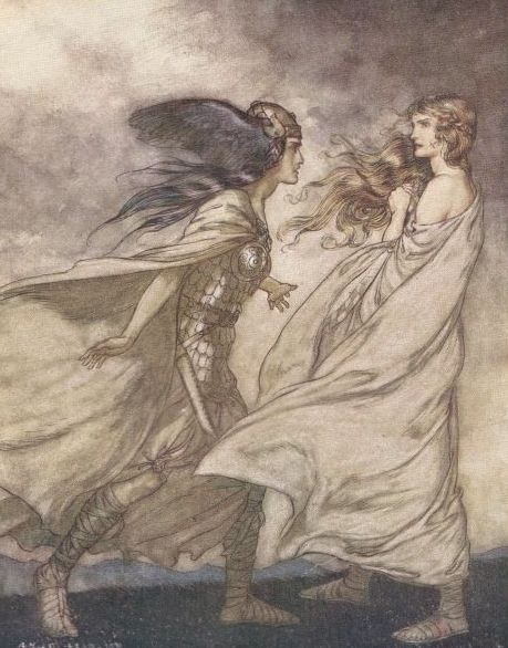 Brünnhilde is visited by her Valkyrie sister Waltraute. Public Domain.