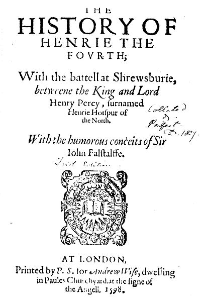 Title Page of Shakespeare's Henry IV, part 1 (1596)
