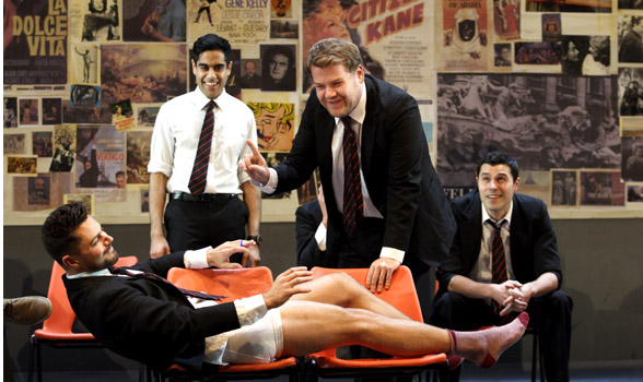 (Left to right) DOMINIC COOPER, SACHA DHAWAN, JAMES CORDEN and PHILIP CORREIA in The History Boys by Alan Bennett in 50 Years on Stage. Photo by Catherine Ashmore.