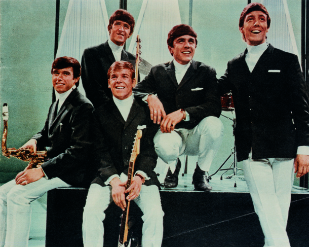 The Dave Clark Five, left to right: Denis Payton (d. 2006), Lenny Davidson (seated in front), Rick Huxley (d. 2013), Dave Clark, and Mike Smith (d. 2008)