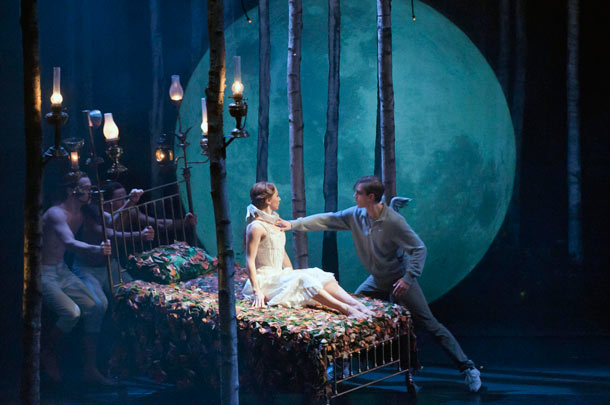 Aurora awakens from her spell to reunite with Leo, who also is still alive after 100 years, in Matthew Bourne's Sleeping Beauty. Photo by Mikah Smillie.