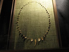 Some of the ancient beads unearthed at the site are displayed in a nearby museum. Credit: Larry Engel