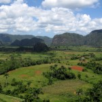 Mogotes rise over the fertile red soil valleys of Viñales in the Pinar del Rio province of Western Cuba, which provides a rich habitat for Cuba's most famous export, tobacco cigars.