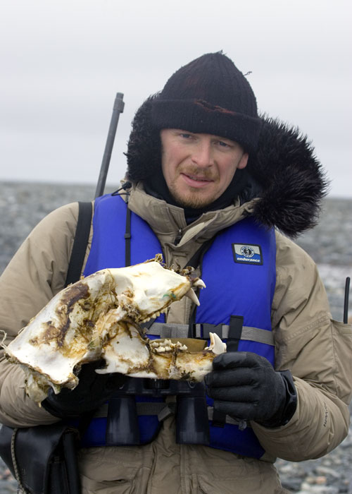 Chris Morgan with Polar Bear Skull