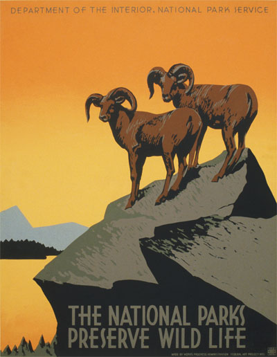 National Parks Poster by J. Hirt for WPA, Library of Congress